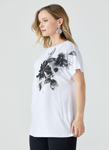 Sementa Çiçek Baskılı Kadın Bluz  Beyaz